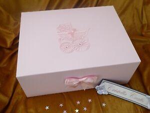 Baby Girl Boy GIFT BOX Keepsake LARGE Pram Naming Day 1st Birthday Baptism