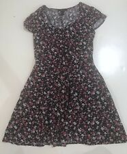 Forever 21 Button Dress (S) Pink Black Floral Print Short Sleeve Tie Back Sun