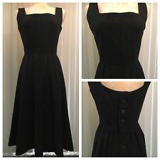 VTG Haymaker 50s Wool Heather Black Button back Lucy House Garden Tea DRESS L