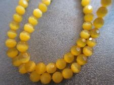 Yellow Cat's Eye Faceted Round 4mm Beads 95pcs