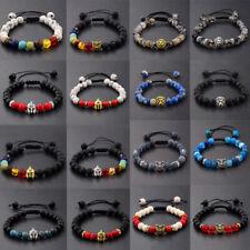 New Man Natural Lava Stone Owl Helmet Lion Beads Lucky Braided Macrame Bracelets
