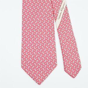 SALVATORE FERRAGAMO TIE Dog & Heart on Pink Classic Silk Necktie