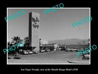 OLD LARGE HISTORIC PHOTO OF LAS VEGAS NEVADA, VIEW OF MOULIN ROUGE HOTEL c1950