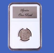 Elite Slab Coin Holder Spanish America 1 Real Etched Metal Label Little Bear