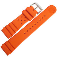22mm Bonetto Cinturini Model 284 Orange Italian Rubber Diver Watch Band Strap