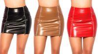 Minirock mit zips in Lederoptik Gr. S-XL, Rock Damen Reißverschluß wetlook