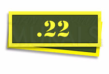 ".22 - Ammo Can Labels for Gun Ammunition Case 3"" x 1"" stickers decals 2 PACK -AG"