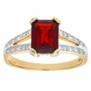 Naava 9ct Yellow Gold Garnet with Diamond Set Collette and Shoulders Ring
