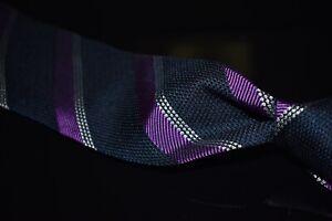 #1 MENSWEAR Garrick Anderson Navy Grenadine Woven Purple Repp Stripe Silk Tie NR