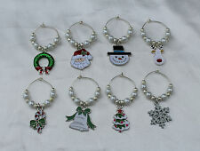 Set of 8 Enamel Christmas Wine Glass Charms Markers Table Decorations Xmas Gift