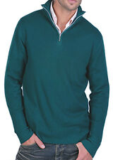Balldiri 100% Cashmere Uomo Pullover Troyer 4 fädig inglese Verde XXL