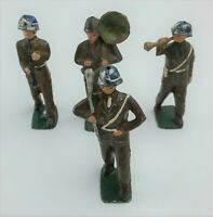 Lead Toy Soldiers Marching Band circa 1930s w/ Baton Bugle Saxophone Tuba Vtg
