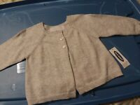Baby girl gray Long-sleeve Cardigan Sweater Baby Girl New 0-3, 3-6, 6-12 month