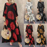 Womens 3/4 Sleeve Causal Loose Retro Print Baggy Kaftan Long Maxi Dress Pullover