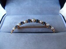 Ladies Quarter Moon Shaped 14K Gold Pin w/7 Cultured Pearls and 6 Blue Sapphires