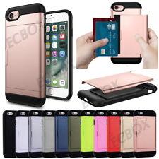 Rugged Slide Card Pocket Wallet Hybrid Shockproof Case Cover For Various Phones