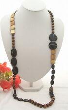 40'' Tiger Eye Onyx Shell Long Necklace
