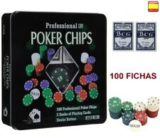 Juego de Poker 100 fichas numeradas con caja + 2 Juego de cartas + Ficha dealer
