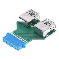 Internal Mainboard 2 Ports USB 3.0 Female to 20 Pin Female adapter Header YA Pg