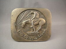 END OF THE TRAIL Native American Indian Warrior & Horse Brass Tone Belt Buckle