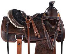 WESTERN COWBOY ROPER HAND CARVED PREMIUM LEATHER HORSE SADDLE TACK SET 15 NEW