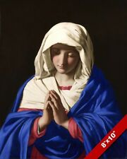 VIRGIN MARY MOTHER OF JESUS IN PRAYER PAINTING CATHOLIC ART REAL CANVAS PRINT