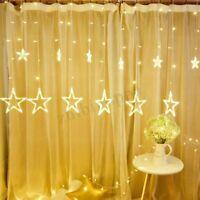 Star Shaped LED String Light Curtain Window Bedroom Xmas Fairy Lamp Home Decor