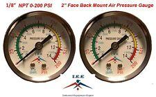 2 Air Compressor Pressurehydraulic Gauge 2 Face Back Mount 18 Npt 0 200 Psi