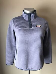 L L Bean Airlight Knit Pullover Womens Quilted Mock Neck 1/4 Snap Blue Sm Petite