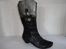 Think! Damen Stiefel Stiefelette Leder schwarz metallic UVP 220 Euro NEU