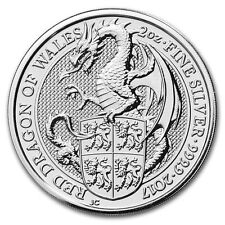 Queen's Beast: the Dragon 2017 Britain 2 Oz Silver Bullion Coin(BU) in Capsule
