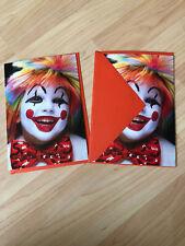 VTG Creepy! Lot of 2 Ambassador Halloween Granddaughter Clown Cards Hallmark USA