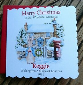 Handmade Personalised Christmas Card Daughter Grandchildren Son  Peter Rabbit TP