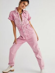 New Free People Marci Denim Coverall Size Small- Maui Pink