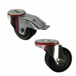 Wiko Heavy Duty Castor Wheels Rubber 100mm Trolley Furniture Brake Caster