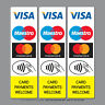 Contactless Credit Card Payments Stickers Taxi Shop VISA Mastercard Maestro