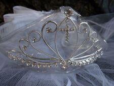 new bridal flower girl 1st Communion tiara crown white veil