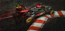 Automotive racing car art large giclee print 2013 Lotus F1 Kimi Raikkonen Monaco