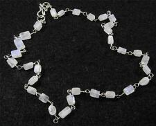 """RAINBOW MOONSTONE Faceted Rectangle Crystal Gemstone NECKLACE 17"""" Silver Plated"""