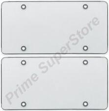 2 CLEAR FLAT LICENSE PLATE COVER BUG SHIELD PLASTIC TAG PROTECTOR