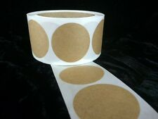 """25 1 7/8 Inch Round Natural Kraft Circles Stickers Shipping Labels New  1 7/8"""""""