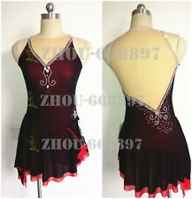 Girl Women latin Rumba Ice Skating Dress Competition black red Spandex handmade