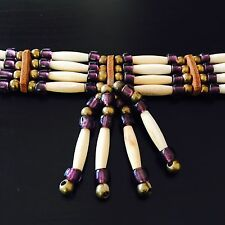 NATIVE AMERICAN BONE CHOKER NECKLACE 4 Row Brass & Purple Glass Beads & Leather