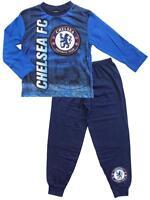 Boys Pyjamas Chelsea F.C Long Pj's Football Club C.F.C Blue 4 to 12 Years
