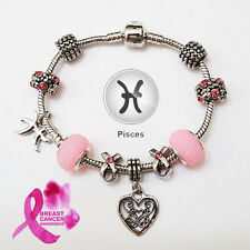 PISCES Silver Zodiac Purple Black Pink Murano Breast Cancer Ribbon Bracelet