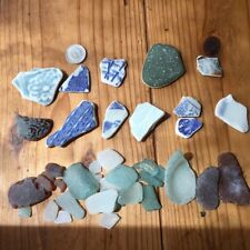 Genuine Beach Sea Glass Surf-Tumbled Brown white Pottery Shard Lot From Japan