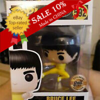 Funko Pop!Bruce Lee #592 Jump Kick Yellow Suit Rare Retired MINT With Protector