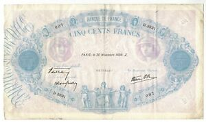 1939 France 500 Francs Currency p#88c Large Size Note