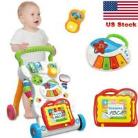 Baby Walking Stroller Seat Learning Musical Walker Activity Tray Stage Push Toys