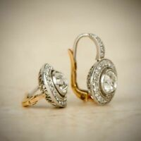 Antique Vintage Art Deco 2.0 Ct Diamond Halo Earrings 1920's 14k White Gold Over